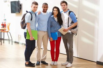 Portrait Of Multi-Ethnic Group Of Students In Classroom