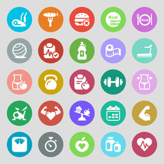 fitness & health iconset colorful
