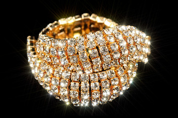 Gold Bracelet with Cubic Zirconia (CZ) on Black Background