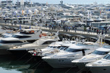 Luxury motorboats at a motor show
