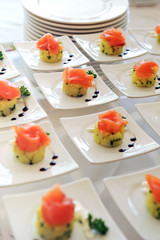 Display of smoked salmon appetizers