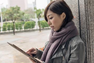 Woman using a pad