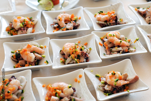 Papiers peints Buffet, Bar Individual seafood starters