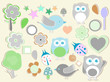 Set of birthday party elements with cute owls