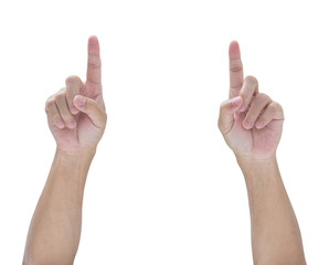 Hands point isolated on white background, clipping path