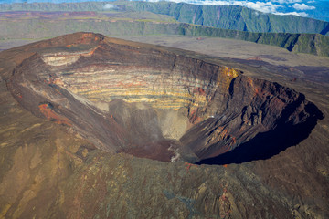 Crater Dolomieu with flying heli, La Réunion