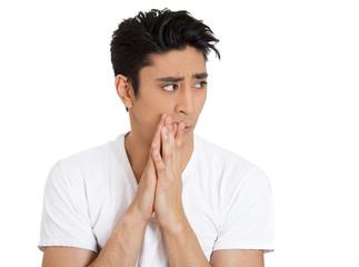 Paranoid nervous , stressed man