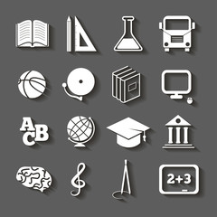 Education, school icons with shadow on gray background