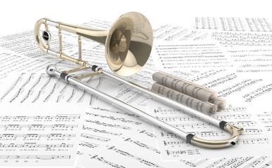 Trombón sobre partituras 2