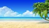 Palms on empty tropical sand beach. Travel, holidays, resort.