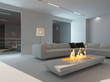 White living room interior with fireplace at night