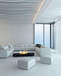 White living room interior with fireplace