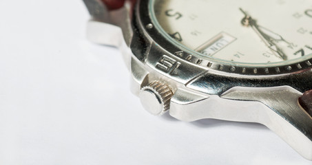 Winder detail on an old wristwatch