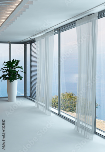 A 3D Rendering of empty white living room with curtains