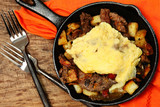 Texas Skillet Breakfast with Steak, Potato and Egg