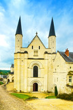 Fontevraud Abbey, west facade church. Religious building. Loire