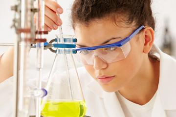 Female Scientist Studying Liquid In Flask