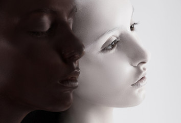 Cultural Diversity. Faces Colored Black & White. Yin Yang Style
