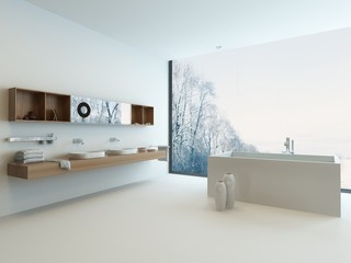 Modern bathroom interior with window and snowy landscape view