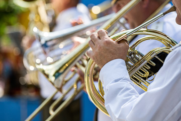 Military musician playing a horn