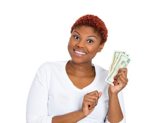 Excited woman with cash