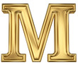 3d brushed golden letter - M. Isolated on white.
