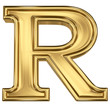 3d brushed golden letter - R. Isolated on white.