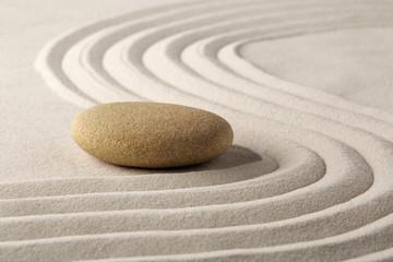 relaxation zen garden, zen stone with raked sand