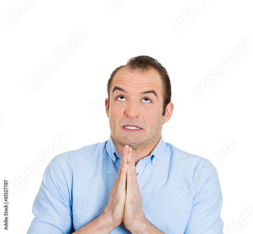 Man praying for the best future, forgiveness
