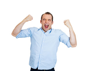 Excited happy man celebrating success