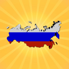 Russia map flag on sunburst illustration