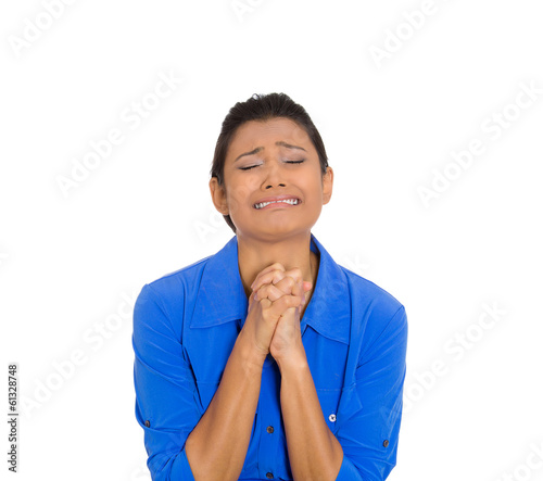 Woman praying to god