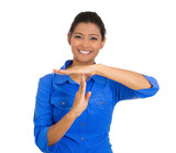 Happy smiling woman, showing time out gesture