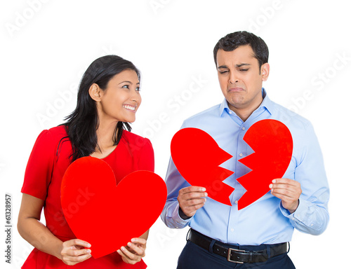 Couple, excited woman, sad man with broken heart