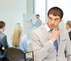 pensive man at office