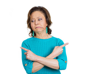 Baffled mature woman, confused unsure what to do