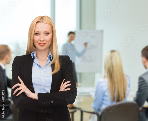 smiling businesswoman at office