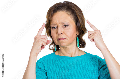 Old woman suffering from memory loss