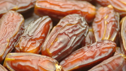 Date Fruits close up rotating smoothly and slowly