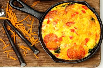 Skillet Peperoni and Spinach Egg Scramble