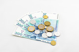 The minimum wage in Lithuania. Several banknotes and coins. poster