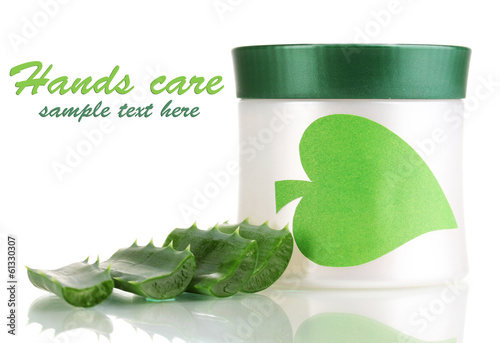 Jar of cream with aloe vera isolated on white