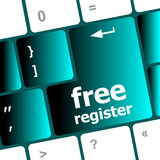 free register computer keyboard key showing internet concept
