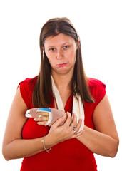 donna con dito rotto