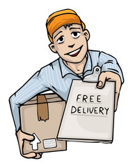 Delivery man asking for a signature for your free delivery