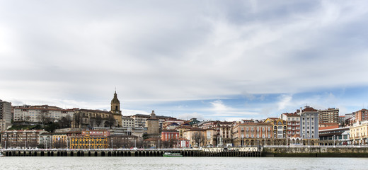 Panoramic views of Portugalete village in Bizkaia, Basque Countr