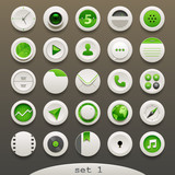 white-green round  icons - set 1