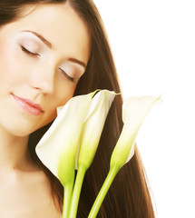 woman with calla flowers