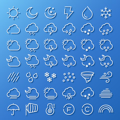 weather line icon set