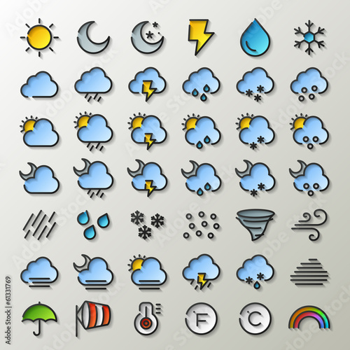 flat line weather icons